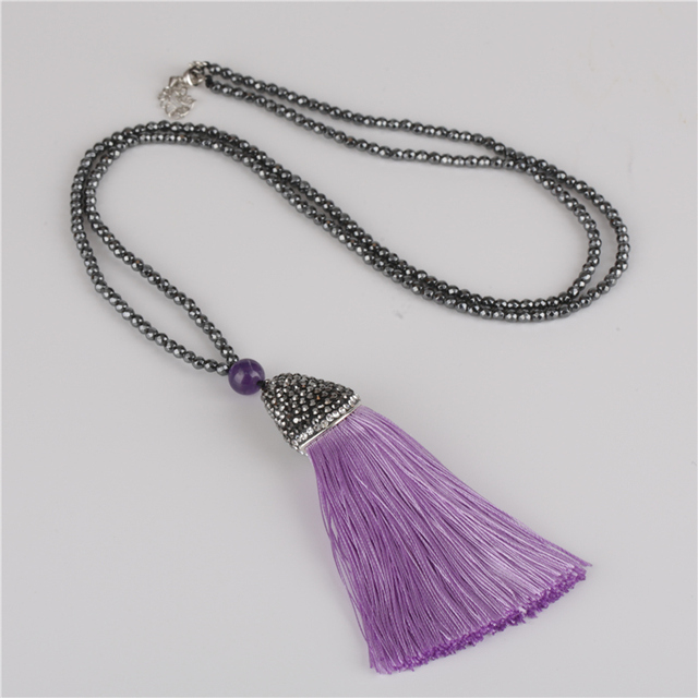 afa513e7b5468 Bohemia Boho Lilac Voilet Purple Silk Tassel Dangle Pendant with Faceted  Hematite Energy Stone Beads Chain Necklace for Women