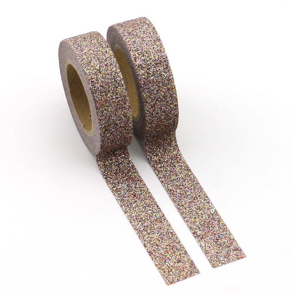 1pcs Brown Glitter Washi Tape Japanese Stationery 1.5*5meter Kawaii Scrapbooking Tools Masking Tape Adhesiva Decorativa Colored