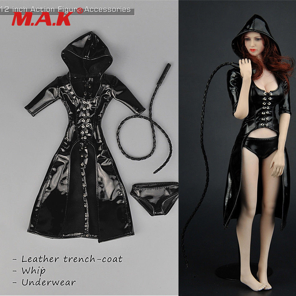 1/6 Scale Female Leather Clothes Set Hood Leather Trench Coat Underpants Whip Set For 12 Woman Action Figure Toys Accessories 1/6 Scale Female Leather Clothes Set Hood Leather Trench Coat Underpants Whip Set For 12 Woman Action Figure Toys Accessories