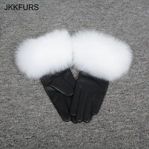 Image 4 - נשים של אמיתי עור כפפת החורף חם אמיתי כבש ושועל פרווה כפפות אופנה סגנון רך טבעי שועל פרווה S7200