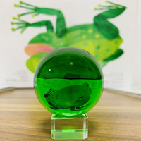 Green Magic Crystal Glass Photograph Ball Collection Paperweight Fengshui Home Decor Sphere Ornament Without base Kid Gift