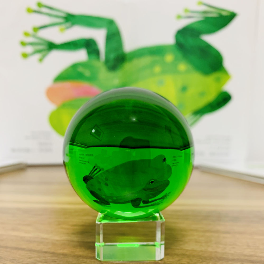 Green Crystal Glass Photograph Ball Magic Ball Collection Paperweight Fengshui Home Decor Sphere Ornament Without base Kid Gift