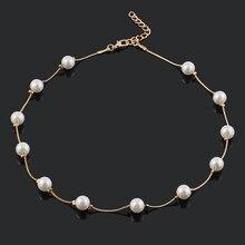 Модный кулон ювелирные изделия цепь искусственный жемчуг чокер короткое ожерелье золотой серебряный цвет массивная цепочка на шею ювелирных изделий