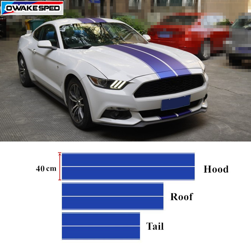 Sport Racing Stripes Vinyl Decal Car Hood Roof Tail Whole Sticker Auto Body Front Rear Bumper