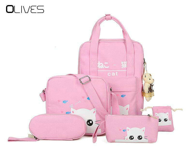 OLIVES Cartoon Kawaii Cat Printing Backpack Set Canvas Middle/High School Bag Laptop Travel Backpack Bagpack with Cute Gift Bear