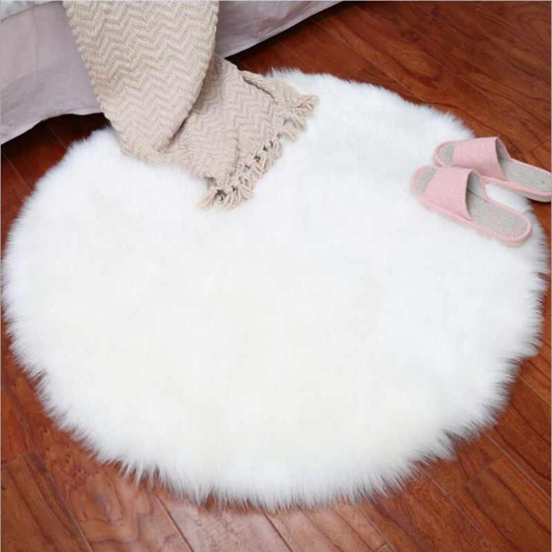 Мягкие круглые шерстяные ковры гостиная кофейная настольная Подушка Диван плюшевый коврик покрытый спальней матрас белый плавающий коврик для окна