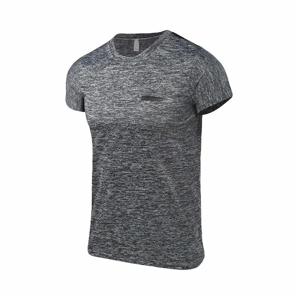 Spor erkek giyim koşu spor erkek yaz rahat o-boyun T-shirt spor spor hızlı kuru nefes üst bluz açık