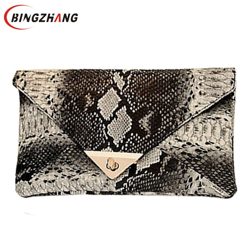 2018 Evening Bag New Fashion Women's Synthetic Leather Bag Snake Skin Envelope Bag Day Clutches Purse L7-377