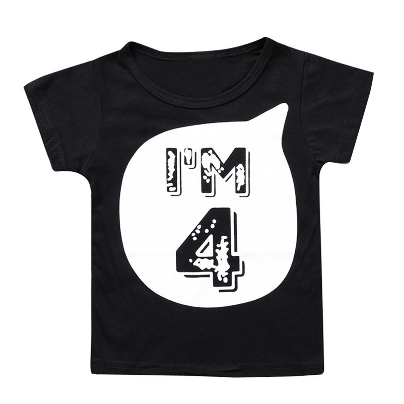 2018 Summer New Fashion Kids Clothes Boys Girls Summer T-shirt Kids Black White Letter Number Series Tops Baby Shop Clothes P6