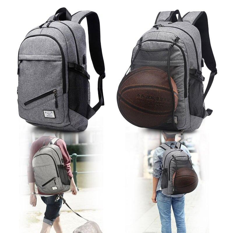 Mise à niveau des sacs de sport de sport sac à dos de basket-Ball école adolescent garçons sacs de ballon de Football ordinateur portable USB sac de Football Net Fitness sac à dos