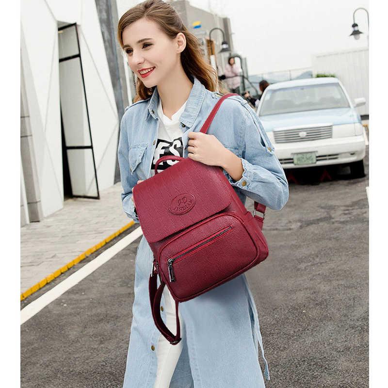2019 женские кожаные рюкзаки высокого качества женские дорожные сумки женские винтажные рюкзаки школьные рюкзаки для девочек Mochilas Daypack