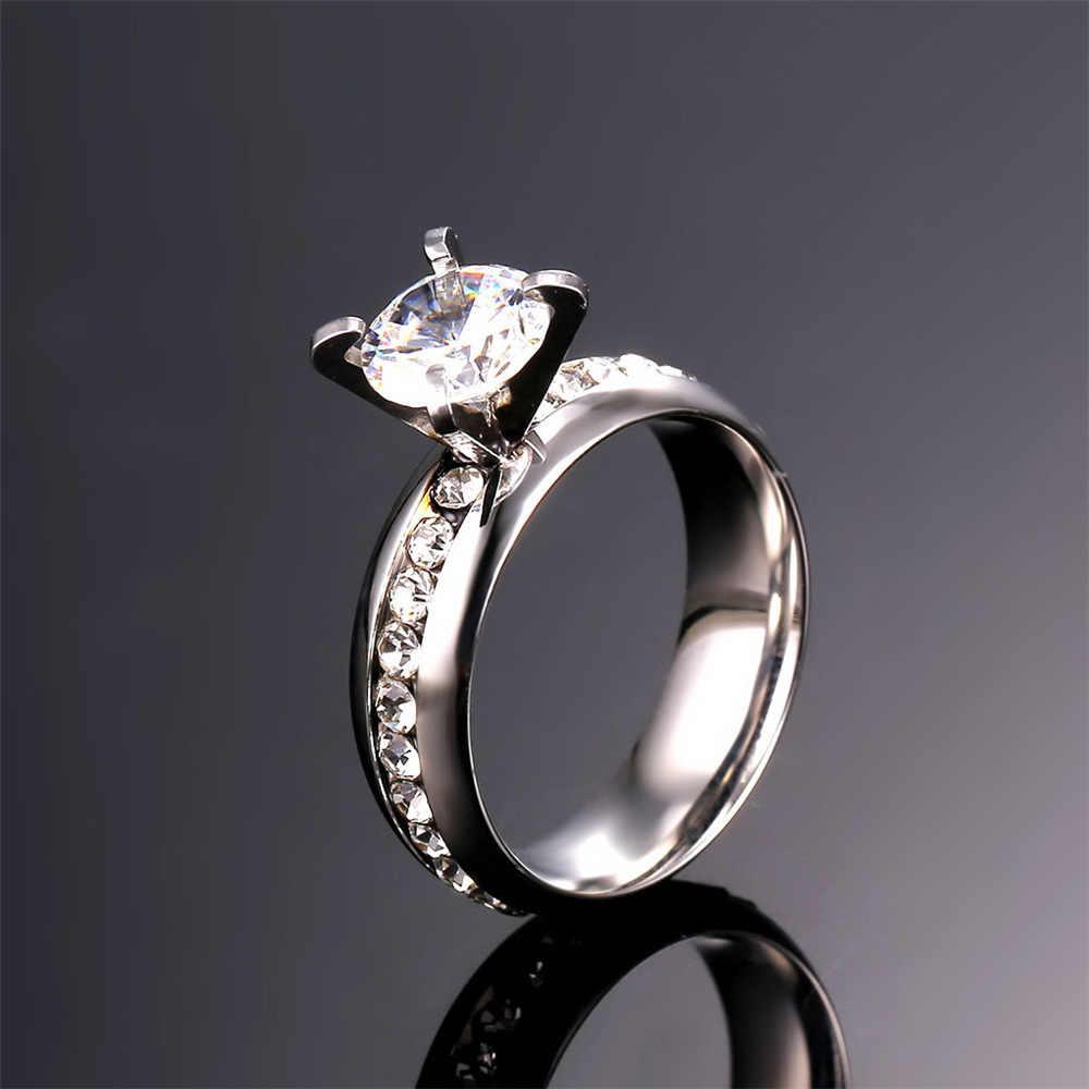 קלאסיות Kpop טבעת נישואים לנשים הגדול ריינסטון קריסטל טבעת זהב צבע & נירוסטה טבעת אירוסין נשים טבעת אצבע R14