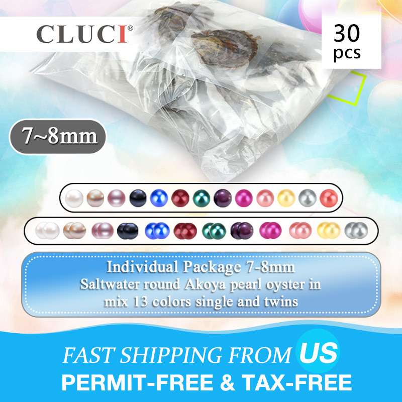 CLUCI 30pcs 7-8mm Akoya Oysters with Pearls Mix 13 Colors Single and Twins Pearls Oysters Surprising Party Akoya Pearl OysterCLUCI 30pcs 7-8mm Akoya Oysters with Pearls Mix 13 Colors Single and Twins Pearls Oysters Surprising Party Akoya Pearl Oyster