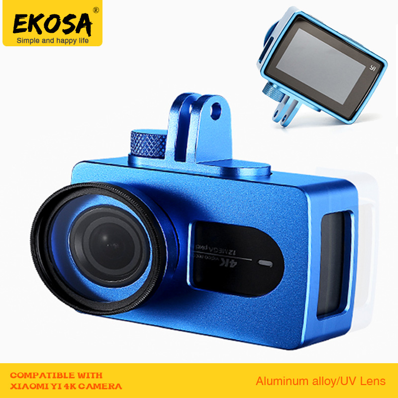 EKOSA Aluminum For Xiaomi Yi 4K Case Accessories Action Camera Metal Alloy Protective House With Lens Cover+UV Lens For Yi 2 4K