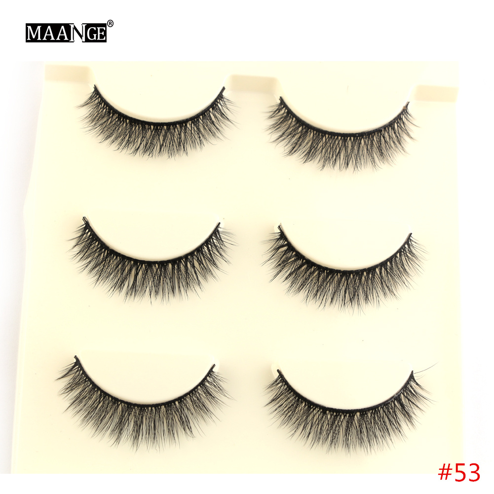3 Pairs Natural False Eyelashes Extension Eyelash Lash Makeup Tool