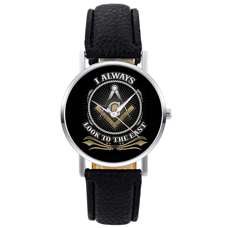 Classic Fashion Masonic Logo Quartz Wristwatch Retro Men Women I Always Look To East Bracelet Black Leather Casual Watch