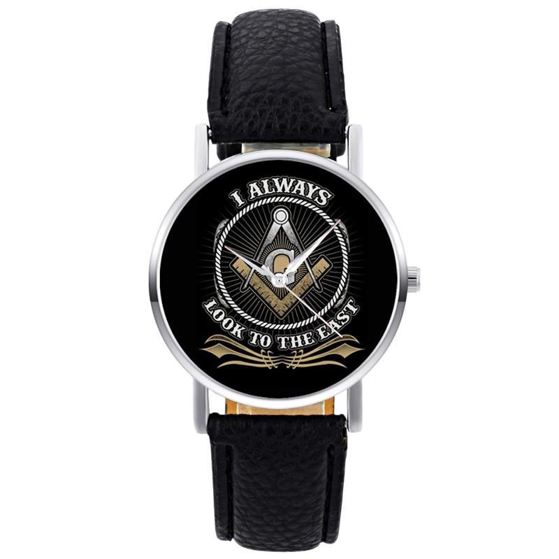 Classic Fashion Masonic Logo Quartz Wristwatch Retro Men Women I Always Look To East Bracelet Black Leather Casual Watch
