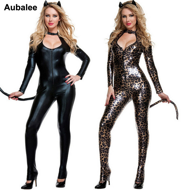 2018 Black Cat Costume Sexy Costume Leopard Animal Cosplay