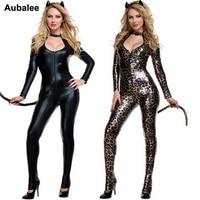 2018 Black Cat Costume Sexy Costume Leopard Animal Cosplay Woman Halloween Black Cat Women Leotards Sexy Costume