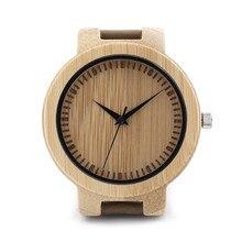 2016 hombres Superiores de la Marca De Madera De Bambú De Bambú Correa de Hombres Reloj de Cuarzo Reloj de pulsera de Cuero Real Con Caja de Regalo