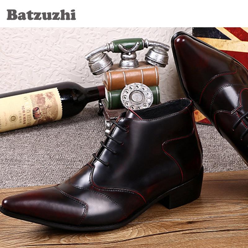 Sapatos Inicialização Cor Escova Homens Couro Up Wine Alta Lace Curto De Top Tornozelo Moda Negócios Boots personalizado Red Dos Ankle Batzuzhi 6UAgTxq