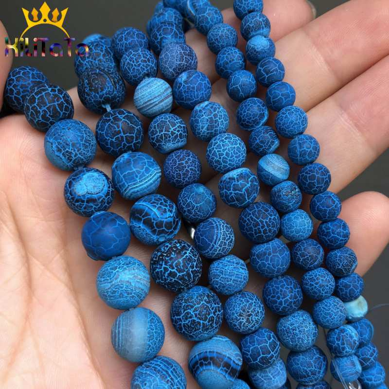 Natural Stone Beads Frost Dark Blue Cracked Dream Fire Dragon Veins Agates Beads For Jewelry Making DIY Bracelet 15'(China)