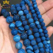 Natural Stone Beads Frost Dark Blue Cracked Dream Fire Dragon Veins Agates For Jewelry Making DIY Bracelet 15'' 6/8/10mm