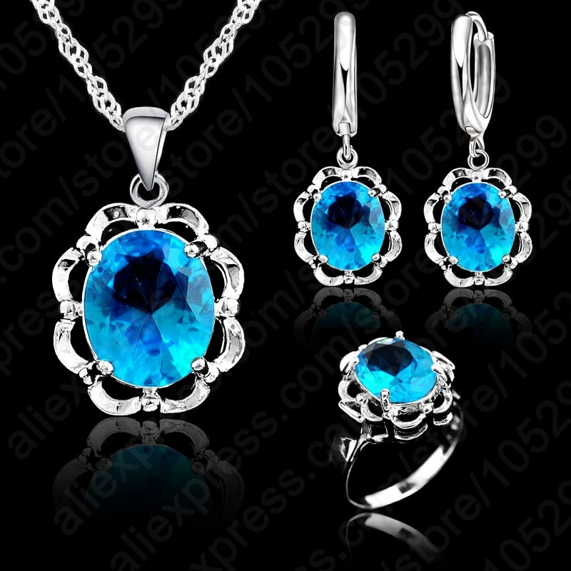 Fashion New Crystal Heart&Arrows Sets Necklace& Earrings Ring 925 Sterling Silver Jewelry Sets For Wedding&Party