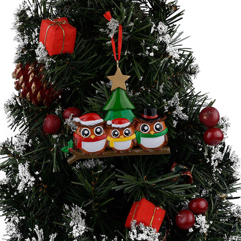 Owl Family Of 3 Polyresin Glossy Personalized Christmas Ornaments Pendant With Green Tree Golden Star For Decorative Crafts