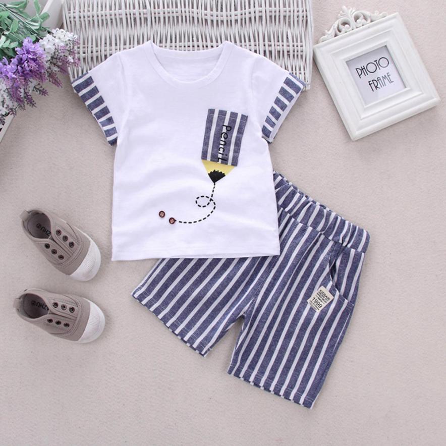 2018 для новорожденных для маленьких мальчиков полосатый карандаш футболка комплекты одежды с топами и штанами комплект удобная и дышащая 6,1 ...