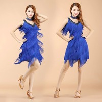 New V Neck Tassel Fringe Latin Dance Outfits stage performance Wears adult Tassels Clothes for Latin Rumba Salsa Dancing Dress
