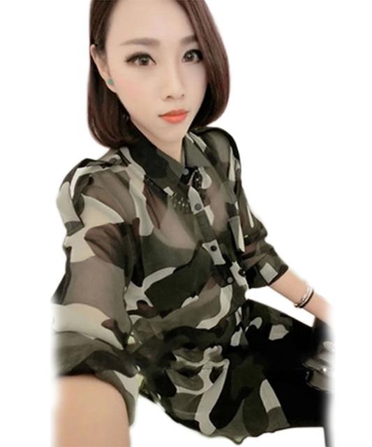 6df9ad20a2e88 Shirt Women Blouse 2017 Camouflage Army Green blusas Blouses Long Sleeve  Shirt Camisa Masculina Loose Chiffon Blouse Women Tops