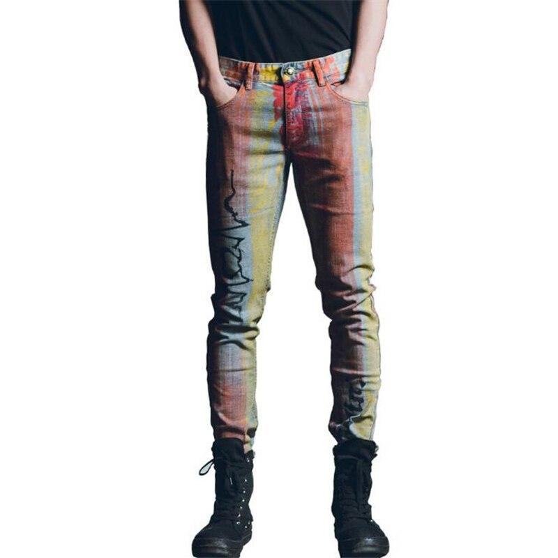 New 2017 Autumn Winter men jeans denim pants famous brand men colorful stripes painted skinny slim fit printed Jeans Trousers