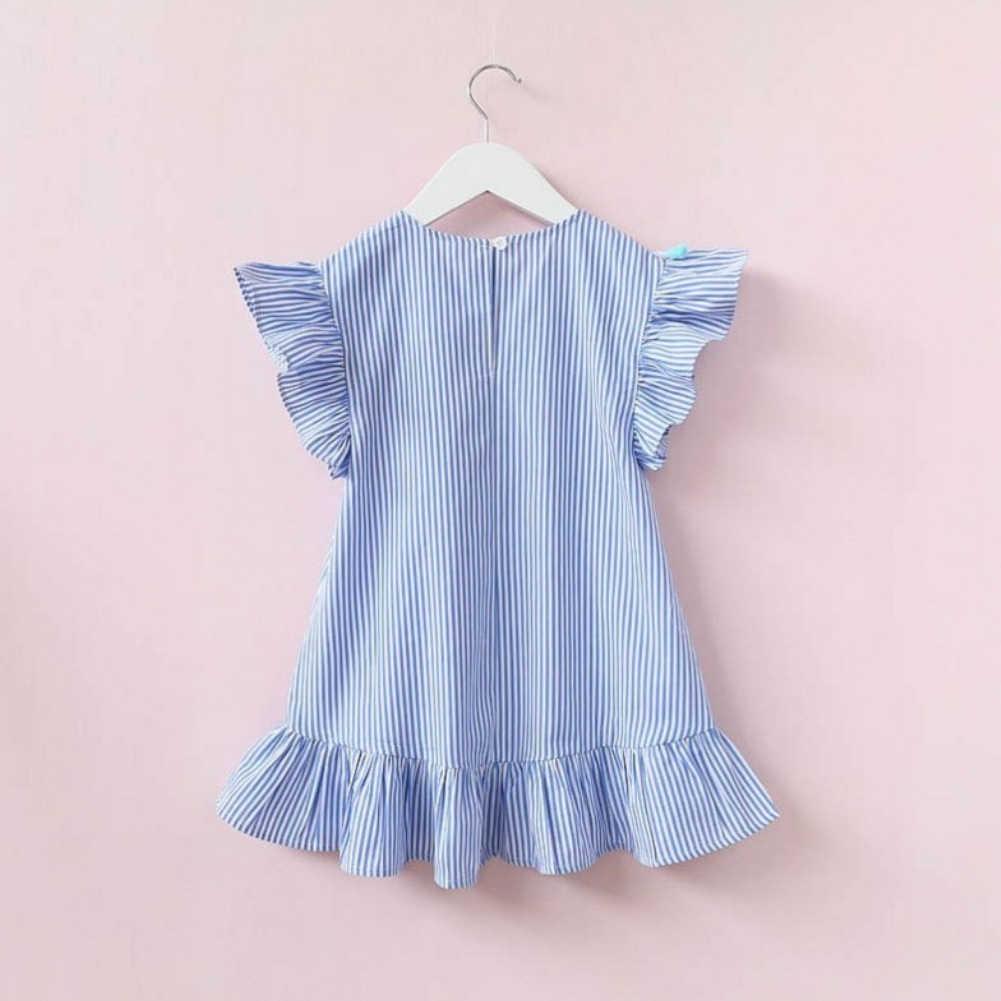 Püskül elbise kız Uçan Kollu Çocuklar Elbiseler için Yaz Kızlar Elbiseler Şerit Pamuk Sevimli Çocuk Parti Prenses Elbise Üstleri Giysi