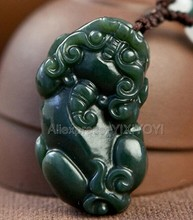Beautiful Natural Green HeTian Jade Carved Chinese Cute PiXiu Amulet Lucky Pendant + Free Necklace Certificate Fine Jewelry(China)