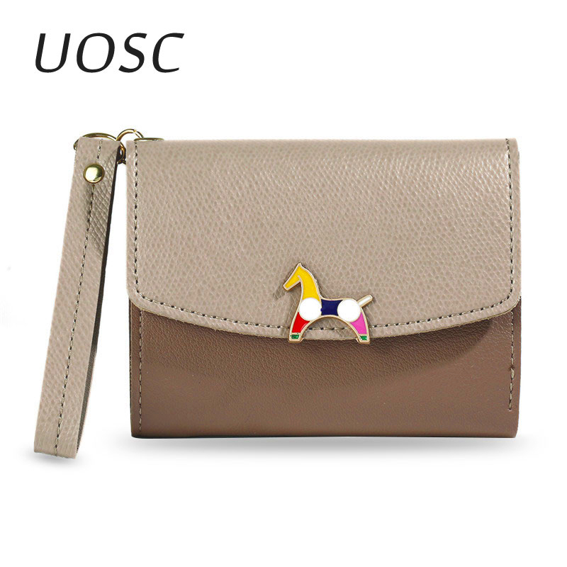 UOSC Short Purse Wallets Pocket-Card-Holder Phone Solid-Coin-Card Fashion Hot Lady