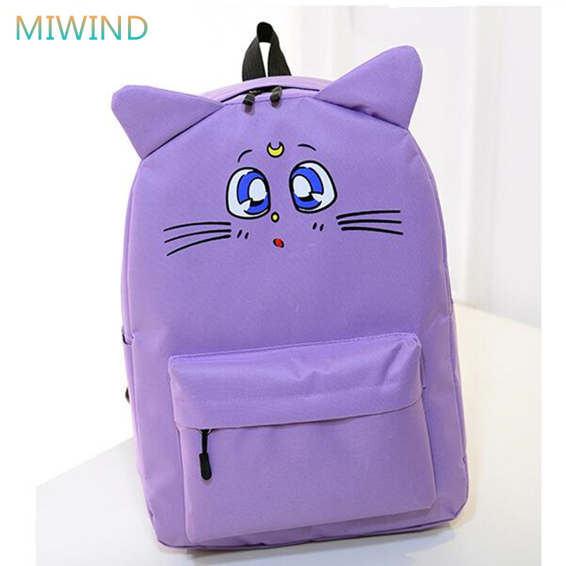 цены MIWIND Harajuku Backpack Sailor Moon Canvas Backpack Cute Cat Shoulder School Bags For Teenager Girls Book Bag Rucksack CB190