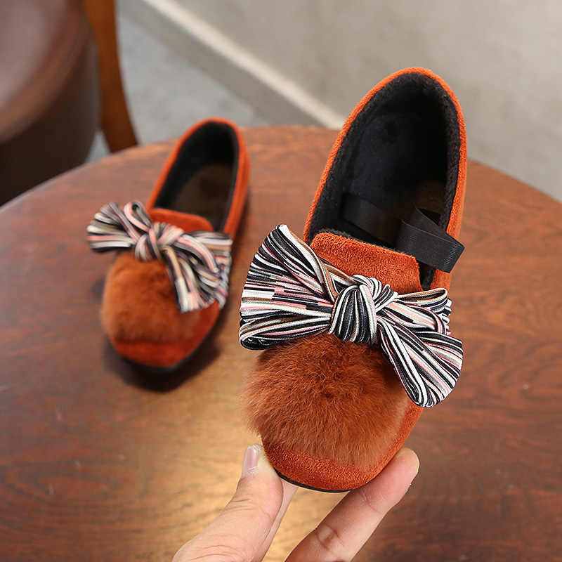 ... Mumoresip 2018 Kids Winter Shoes For Big Girl Children Loafers With  Cotton Inside Bowtie Black Brown ... a70b2551760f