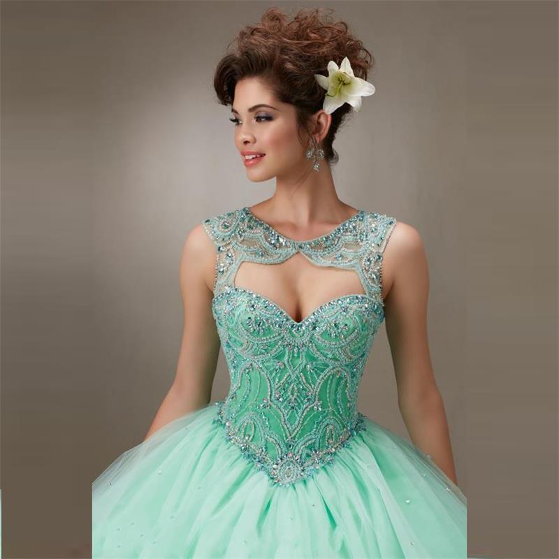 Imagenes de vestidos de 15 color verde menta