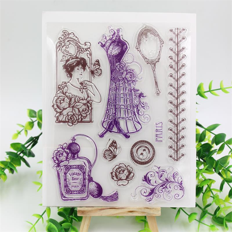 KSCRAFT Vintage Lady Transparent Clear Silicone Stamp/Seal for DIY scrapbooking/photo album Decorative clear stamp sheets