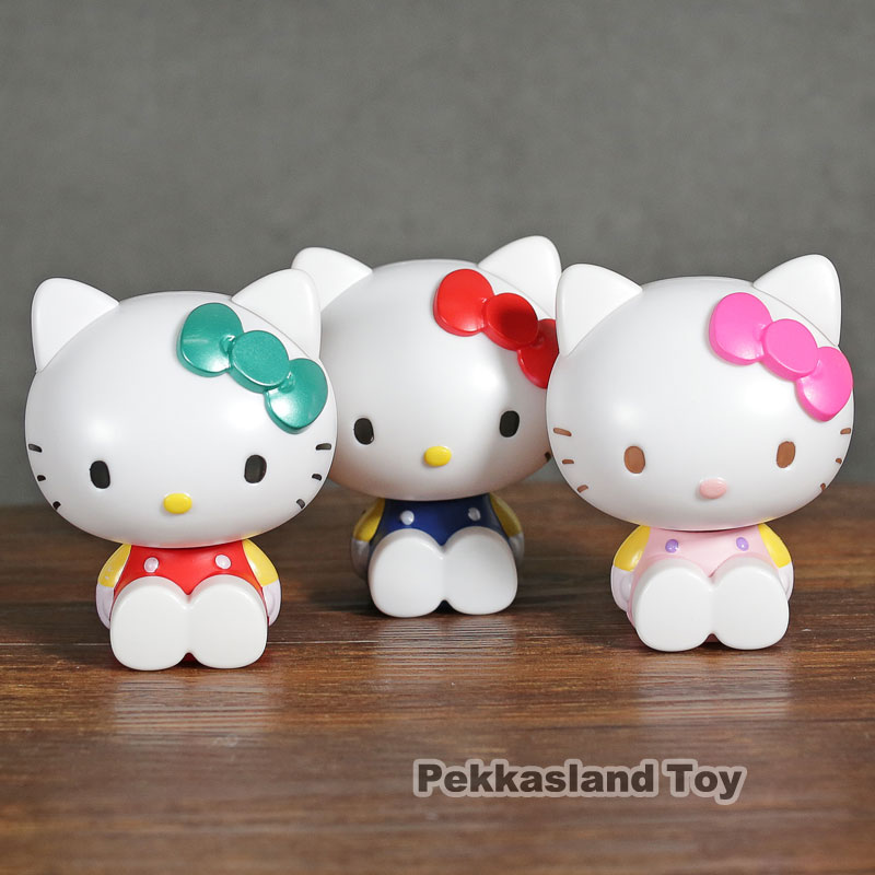 Action & Toy Figures 3 Pcs/set Original Anime Figure Hello Kitty Cat Doll So Cute Stack Action Figures Model Children Toys For Kids Christmas Gift We Take Customers As Our Gods