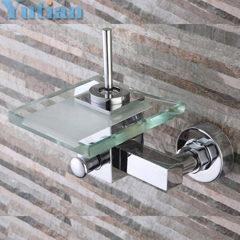 Free shipping Polished Chrome Finish New Wall Mounted Waterfall Bathroom Bathtub Handheld Shower Tap Mixer Faucet  YT-5333 new us free shipping simple style golden finish bathtub faucet mixer tap shower faucet w ceramics handheld shower wall mounted