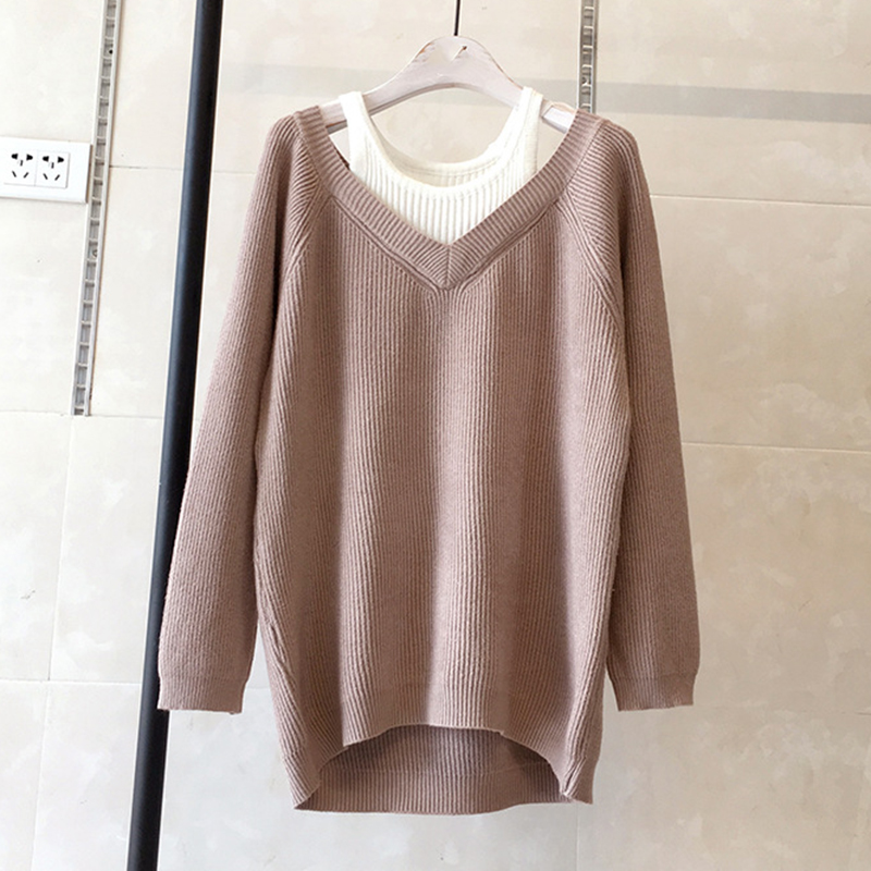 Manga coffee Gray red Suéteres pale Ropa Yagenz Dos Jersey light Suéter 2018 Pinkish dark Nueva Camisa Otoño pink Tops Black De Falso Piezas Mujer Gray Casual A216 Larga Gray AS4pqwWx0n