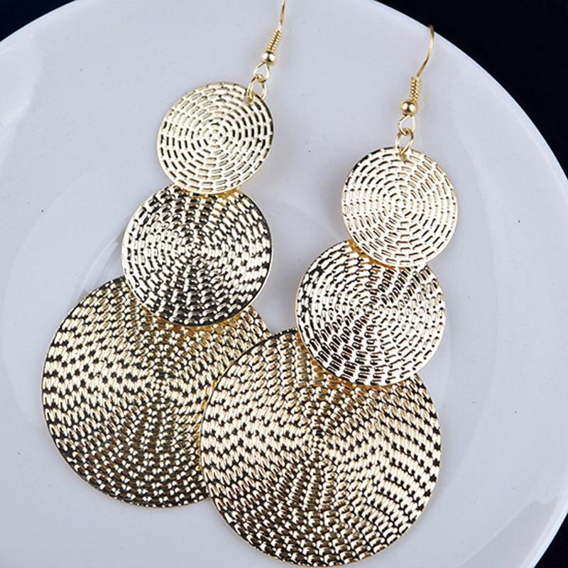 Women/'s Large Round disc Gold Hook Long Drop Dangle Earrings