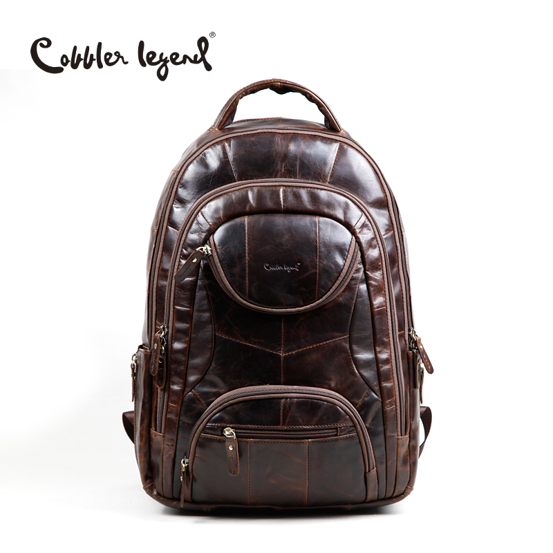 Cobbler Legend Famous Brands 2017 Men Large Capacity Cow Leather backpack Big Size Travel Bags backpacks student school bags ## backpack large capacity travel bag men s student for teens backpack laptop backpacks men pu leather backpacks school portfolios