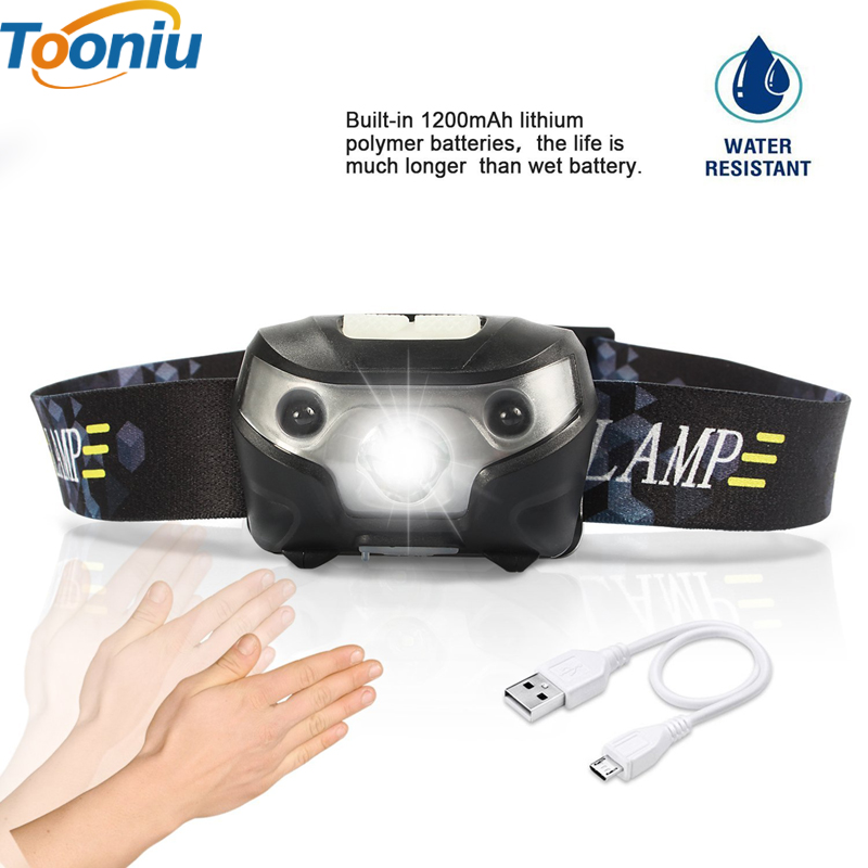 3000LM Mini Rechargeable LED HeadLamp Body Motion Sensor LED Bicycle Head Light Lamp Outdoor Camping Flashlight With USB mc e mce led bicycle headlamp 1200lm 3 modes rechargeable bicycle light headlamp