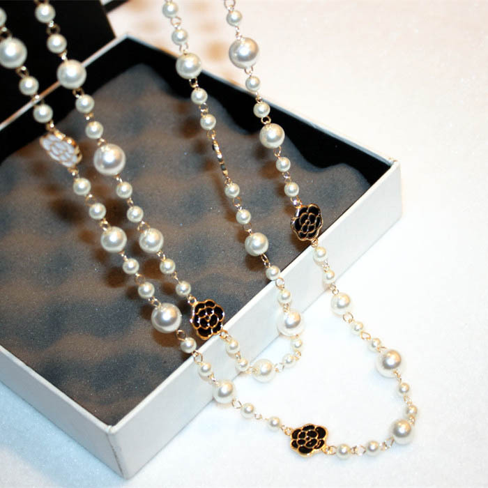 Single Double Layer Camellia Elegant Temperament Sweater Chain Long Necklace For Women Fashion Jewelry collier collares