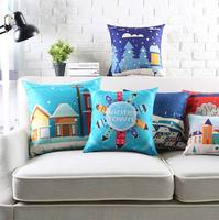 Envío Libre!! Carácter square throw pillow/almofadas caso hijo adolescente, de dibujos animados de navidad nieve scenic funda de cojín decore su casa