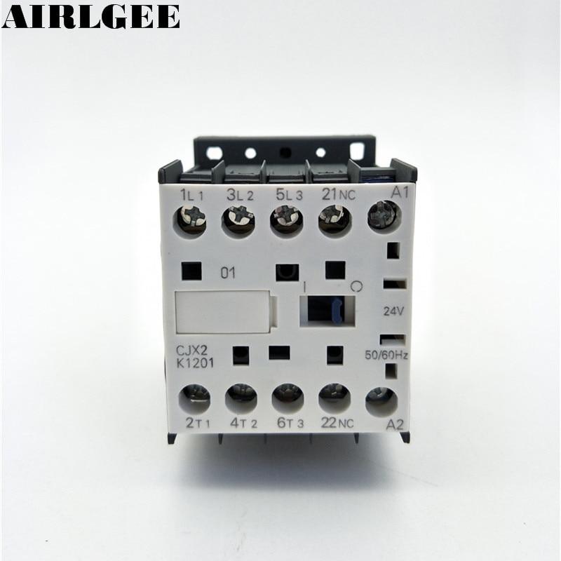 CJX2-K1201 24 Volts Coil 35mm DIN Rail 12A Three Pole 3P 1NC AC Contactor