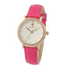 Дисней часы бренда Минни Кварц 30 м водонепроницаемый женщина Алмазный Женские наручные часы